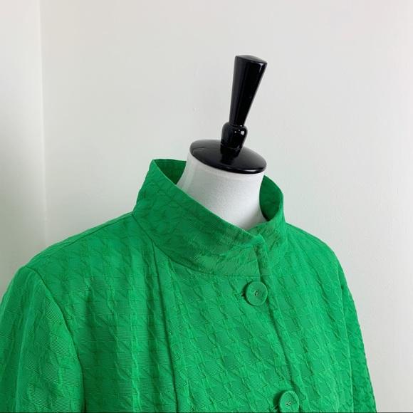 Linea Houndstooth Green Plus Swing Jacket Coat
